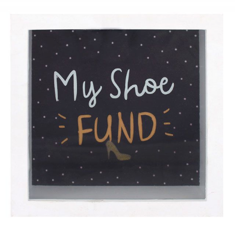 My Shoe Fund 65035 - Savings Shadow Frame Glass Front Money Box